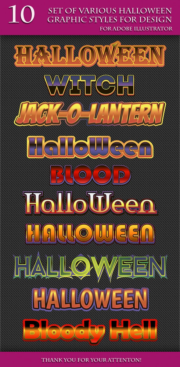 Set of Various Halloween Graphic Styles for Design - Styles Illustrator