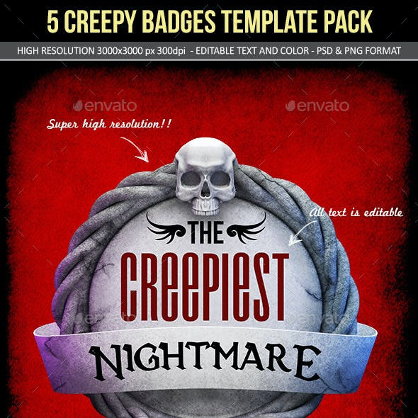 Creepy Stone Halloween Badges Pack