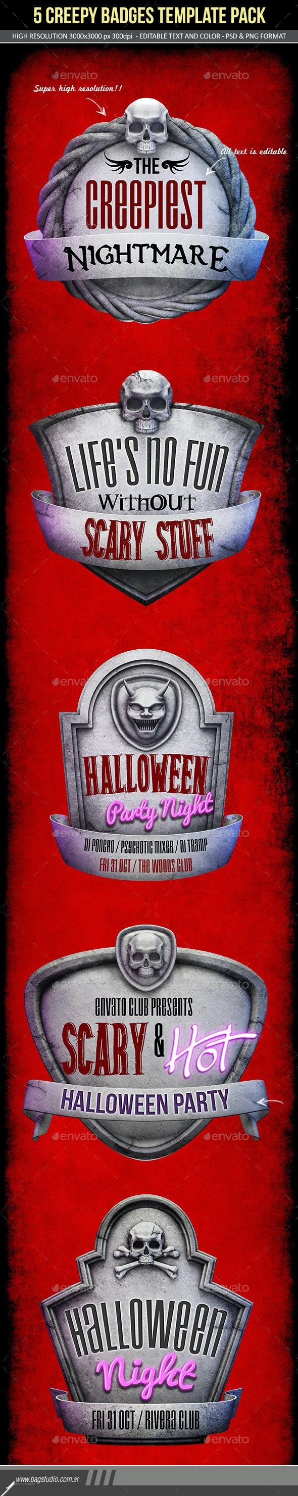 Creepy Stone Halloween Badges Pack - Abstract 3D Renders