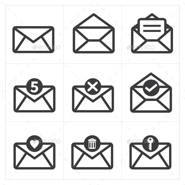 Set of Icon For Mail - Web Elements Vectors