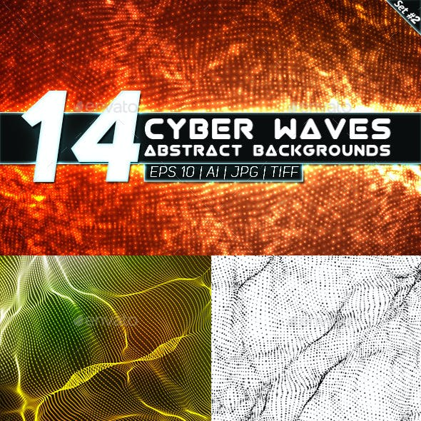 14 Abstract Cyber Waves Backgrounds Set 2