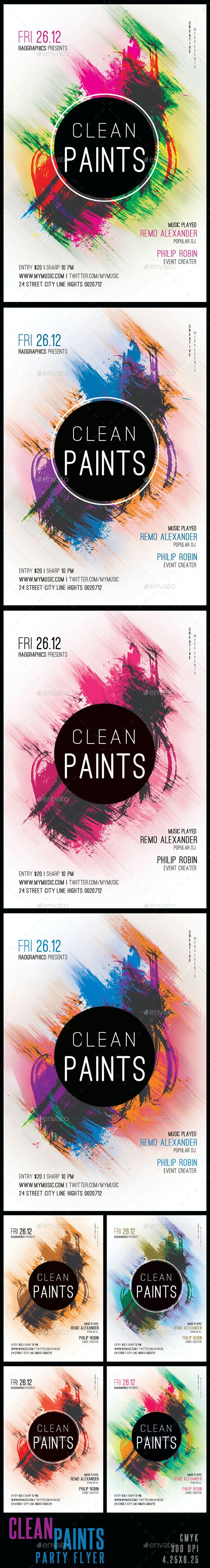 Clean Paints Party Flyer Template - Clubs & Parties Events