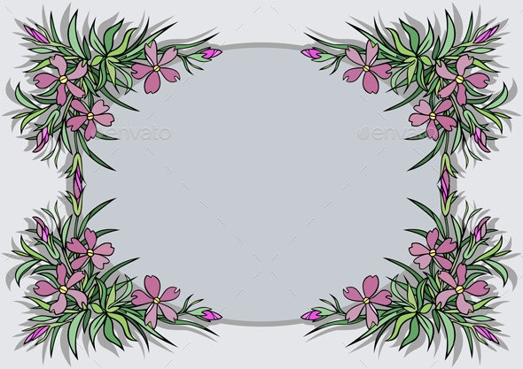 Abstract Flowers Frame  - Borders Decorative