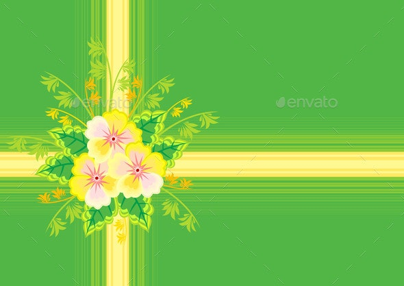 Abstract Flowers with Ribbon and Background  - Backgrounds Decorative