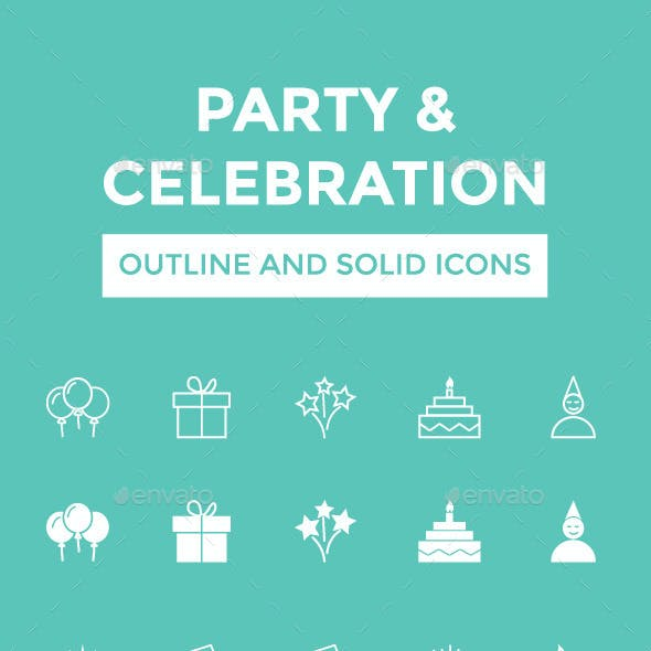 Party and Celebration Vector Icons