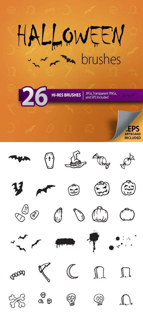 26 Hi-Res Halloween Sketches Brush Set - Brushes Photoshop