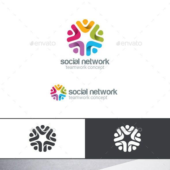 Social Team Work Web Media Logo