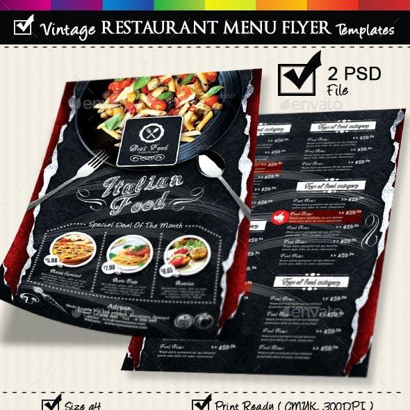 Restaurant Menu Flyer Templates Vintage Texture v3