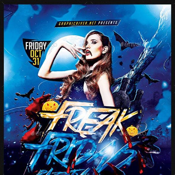 Freak Fridays Halloween   Flyer Template PSD