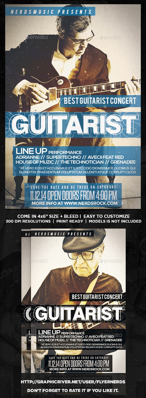 The Guitarist Music Flyer - Concerts Events
