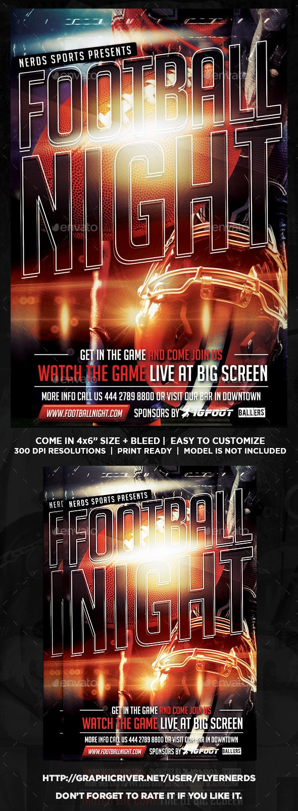 Football Night Game Flyer - Sports Events