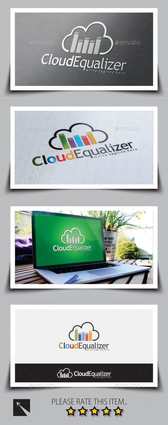 Music Equalizer Cloud Logo Template - Symbols Logo Templates
