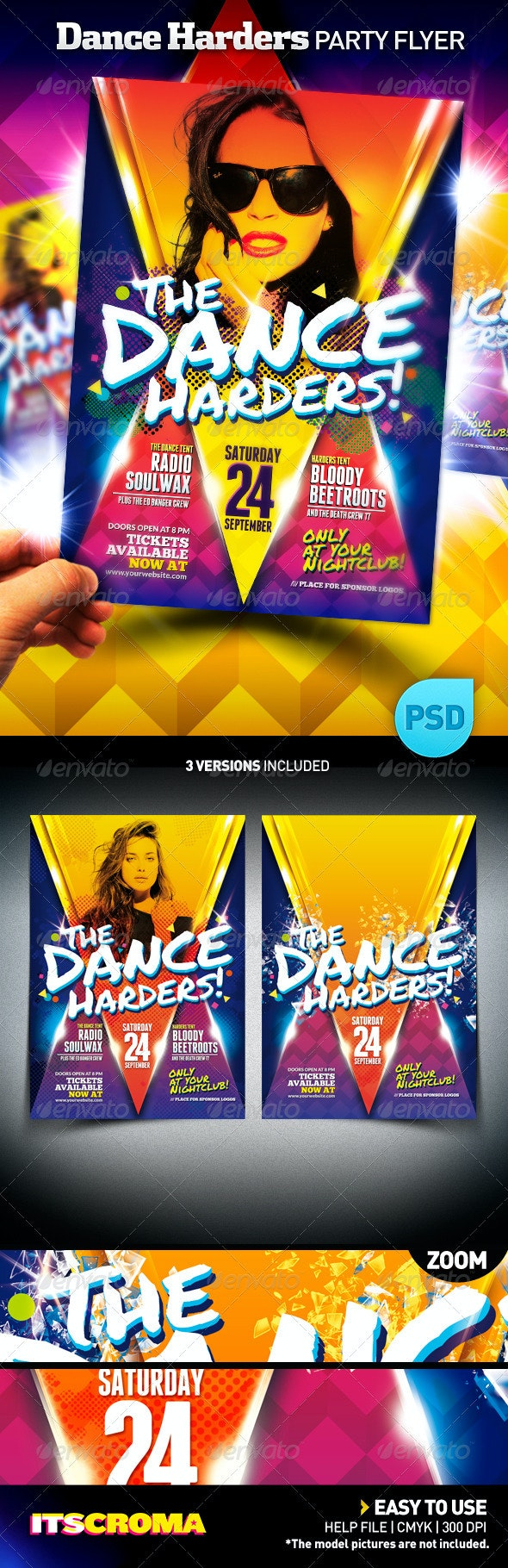 Club Night Party Flyer Poster | The Dance Harders - Clubs & Parties Events