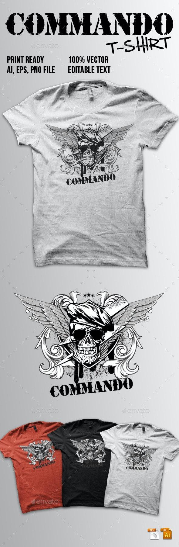 Commando T-Shirt - Grunge Designs