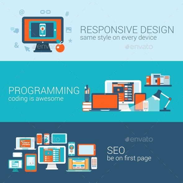 Web Design Programming SEO Concept Flat Template - Web Technology