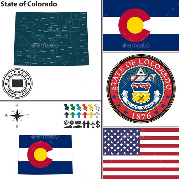 Map of State Colorado, USA - Travel Conceptual