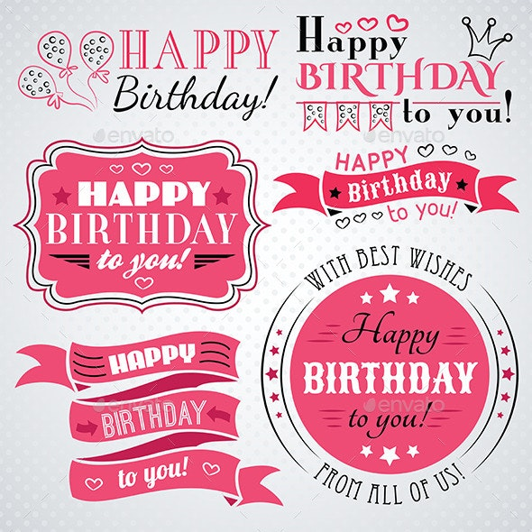 Pink Happy Birthday Congratulations - Birthdays Seasons/Holidays