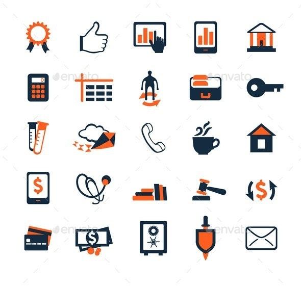 Business Icon Set. Finance, Marketing, E-commerce. - Business Icons