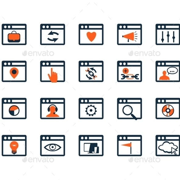 Icon Set. Web Development and SEO. Flat Design