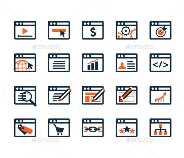 Icon Set. Web Development and SEO. Flat Design - Business Icons