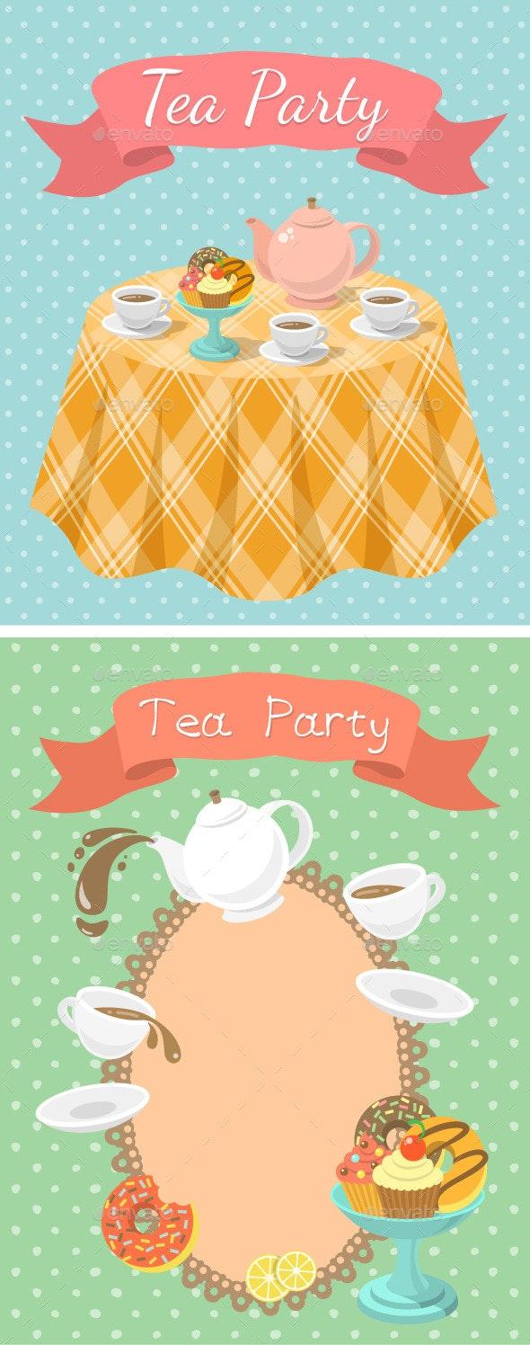 Tea Party Illustrations - Backgrounds Decorative