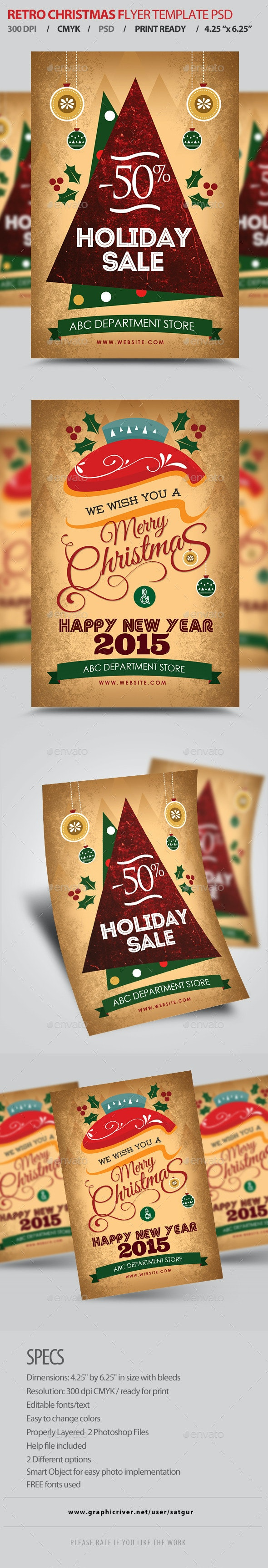 Retro Christmas Flyers Template PSD - Clubs & Parties Events