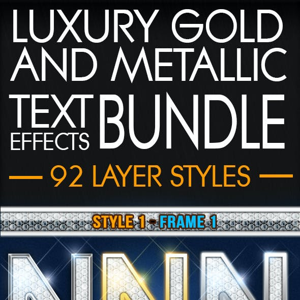 92 Luxury Gold Metallic Text Effects Bundle