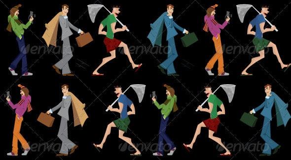 Three men walking seamless pattern - Characters Vectors
