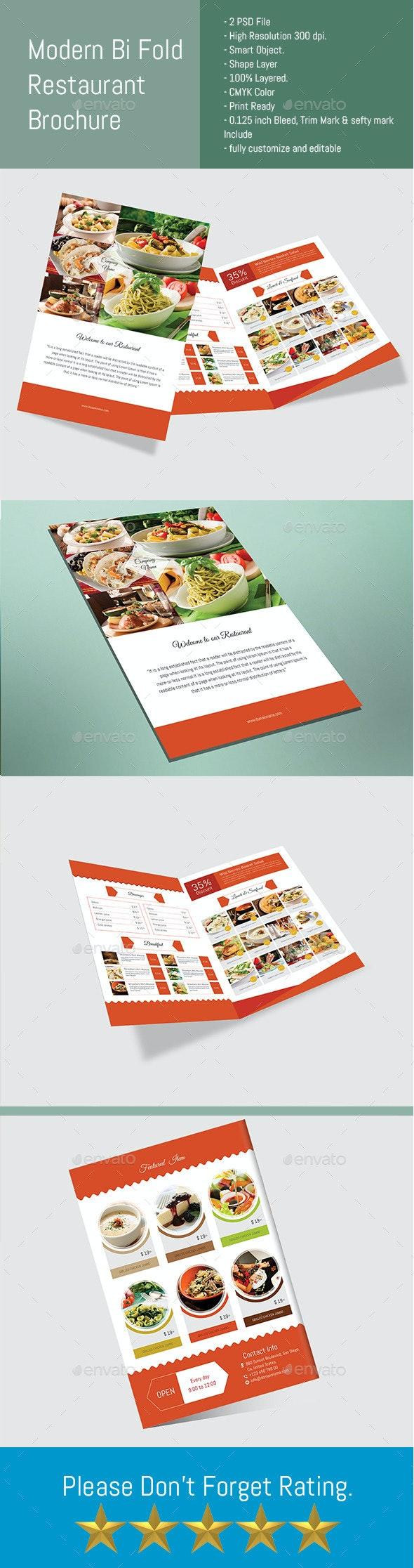 Modern Bi Fold Restaurant Brochure - Brochures Print Templates