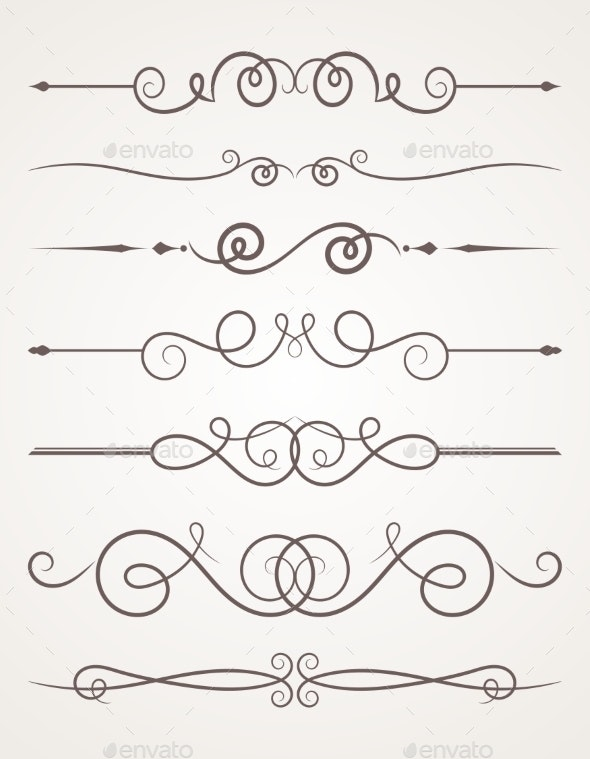 Calligraphic Decorative Elements. - Borders Decorative