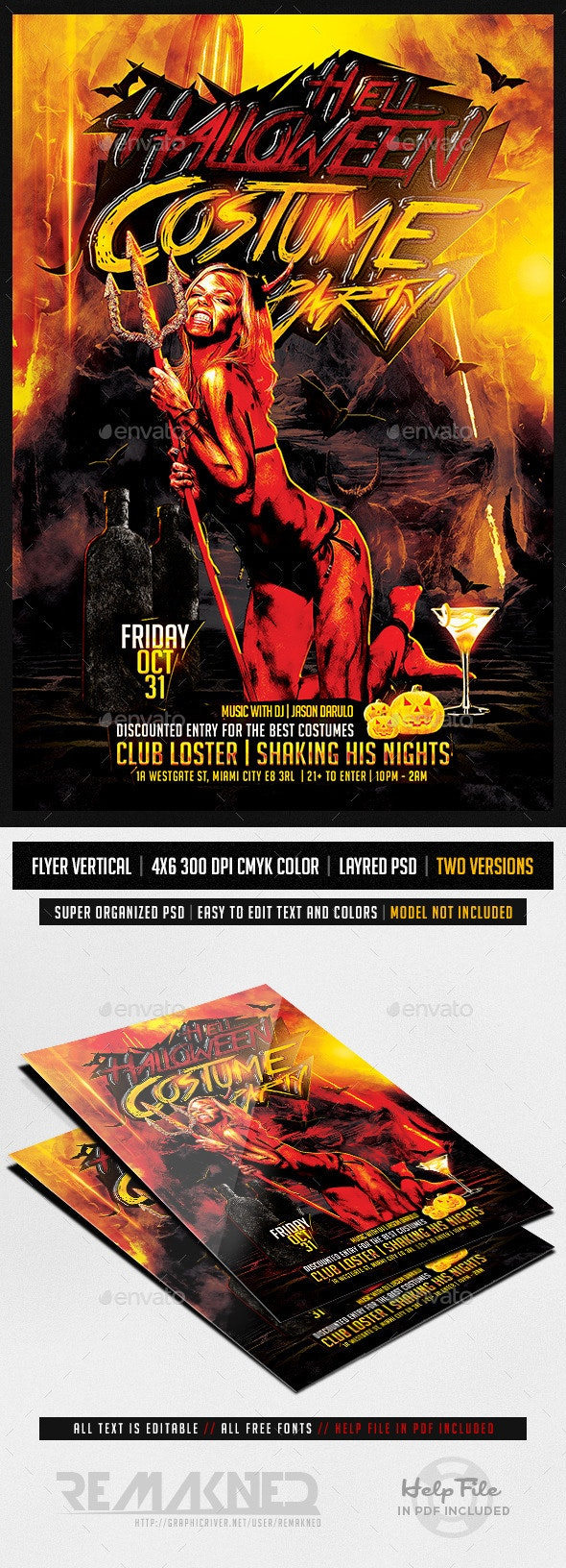 Hell Halloween Costume Party | Flyer Template PSD - Events Flyers