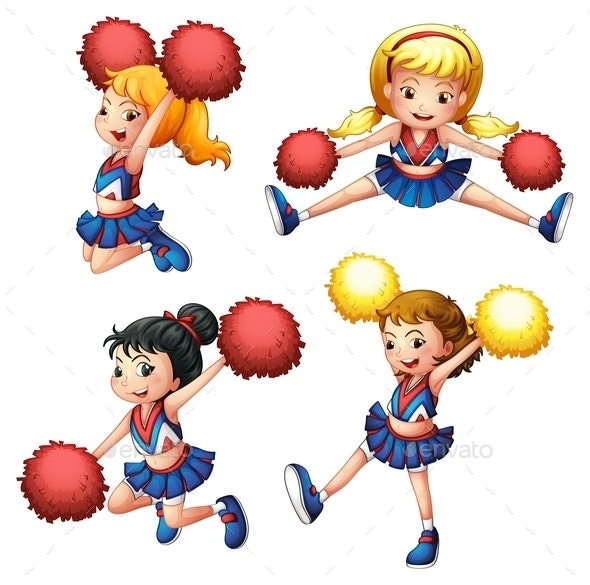Four Cheerdancers with their Pompoms - People Characters