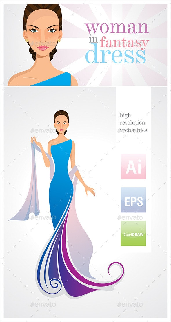 Woman in Dress - Vector Illustration - People Characters