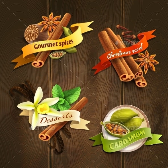 Spices Badges Set - Food Objects