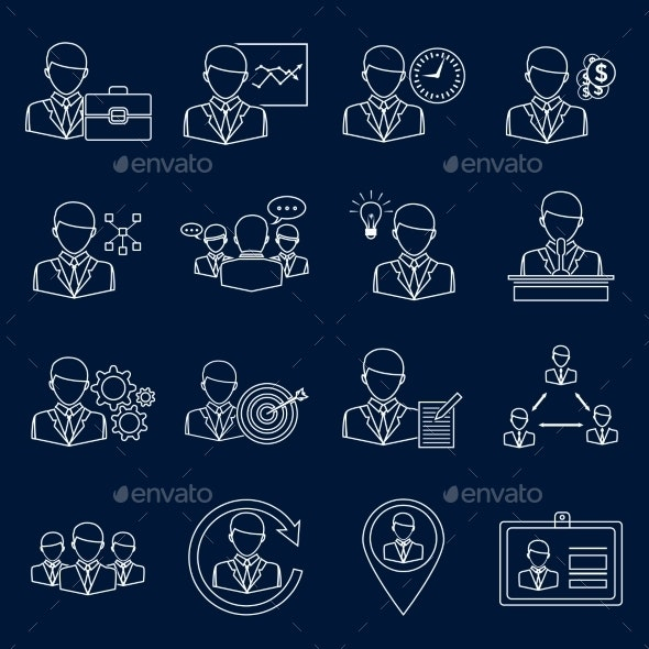 Business and Management Icons Outline - Web Elements Vectors