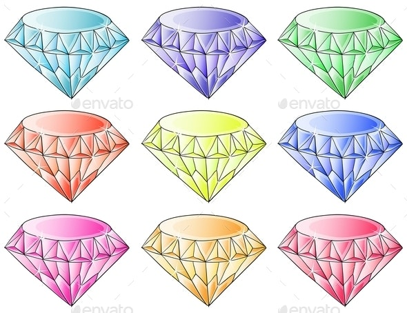 Different Colors of Diamonds - Man-made Objects Objects