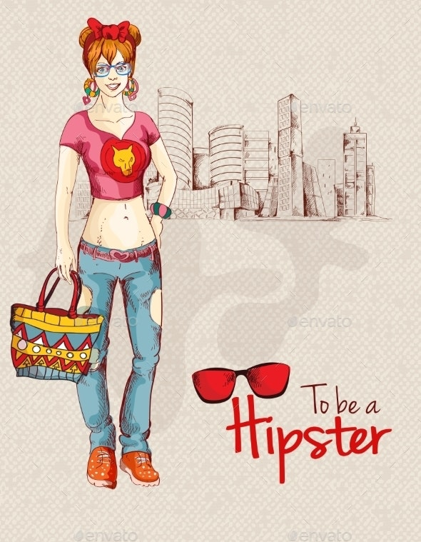 Hipster Girl City - Backgrounds Decorative