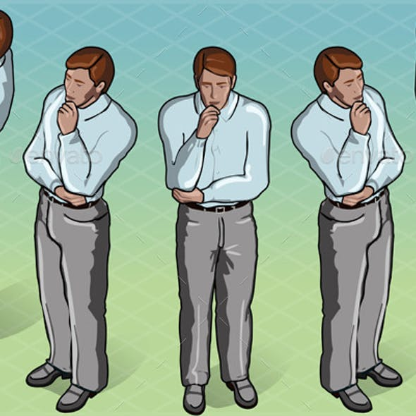 Isometric Thoughtful Standing Man in Front View