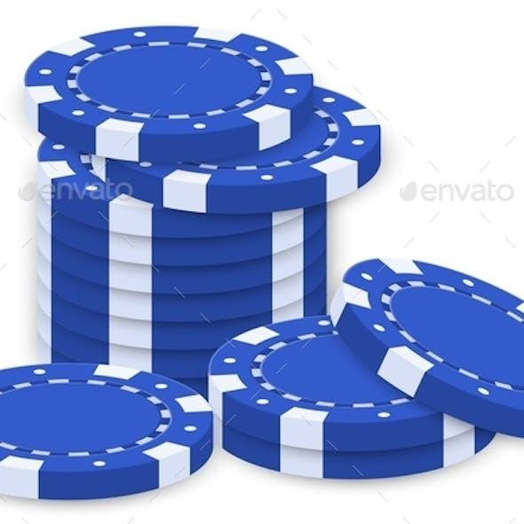 Group of Blue Poker Chips