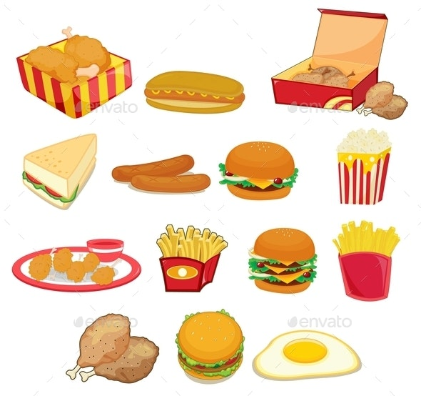 Junk Food on White - Food Objects