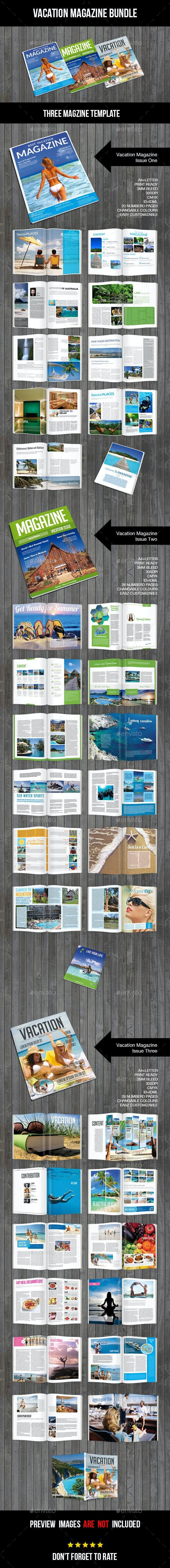 Bundle Set Vacation Magazine  - Magazines Print Templates