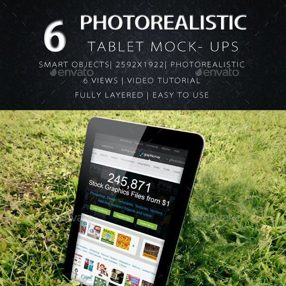 PhotoRealistic Tablet In Nature Mock Up