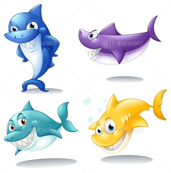A Group of Sharks - Animals Characters