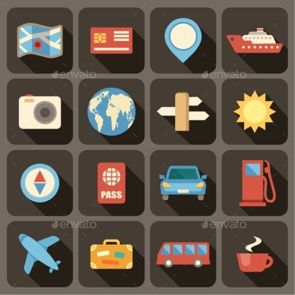 Flat Icons Set for Web and Mobile Applications.  - Travel Conceptual