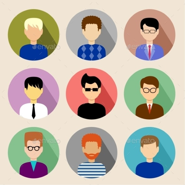 Set of Round Flat Icons with Men.  - Communications Technology