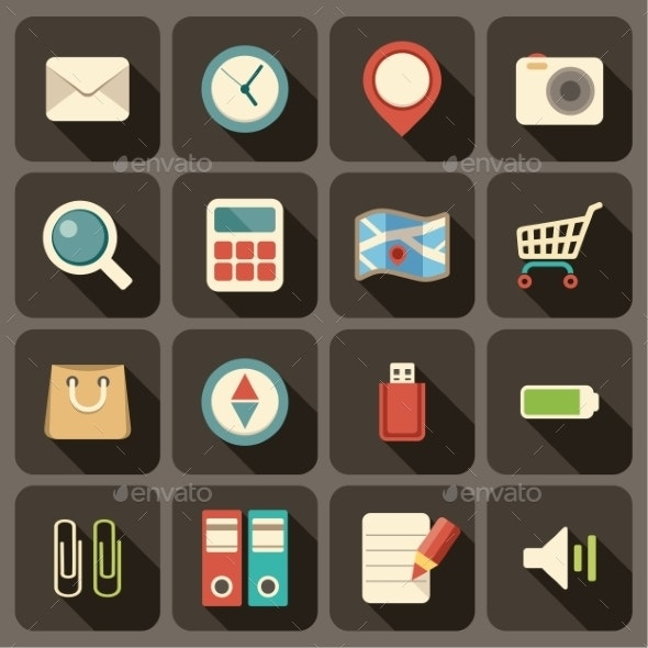 Flat Icons Set for Web and Mobile Applications.  - Web Technology