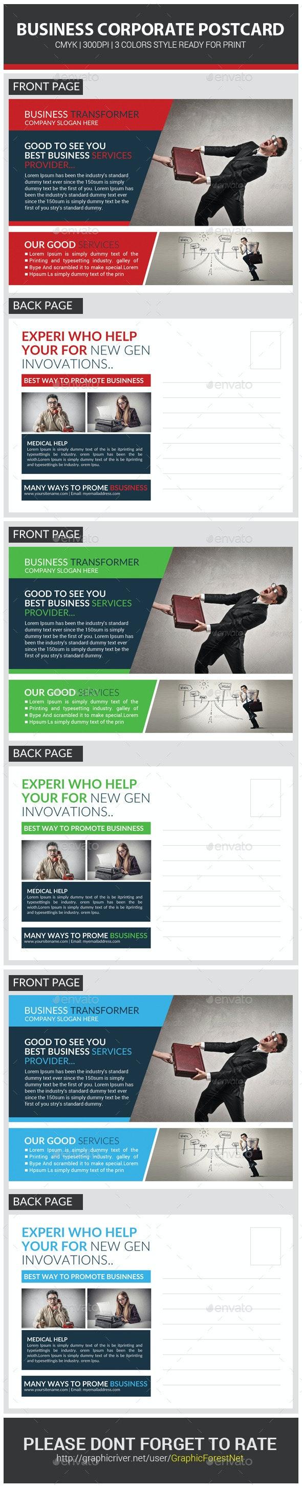 Corporate Business Postcard Template - Cards & Invites Print Templates