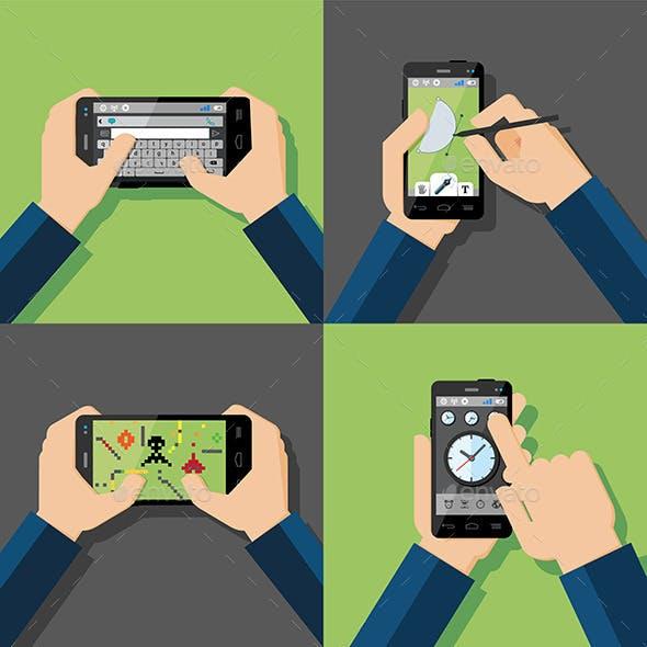 Hands Holding Touchscreen Smartphones
