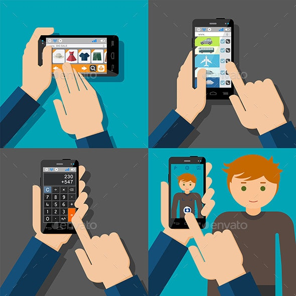 Hands Holding Touchscreen Smartphones - Technology Conceptual