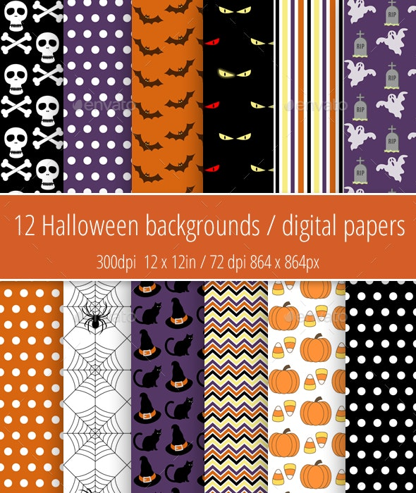 Halloween backgrounds / digital paper pack - Miscellaneous Backgrounds